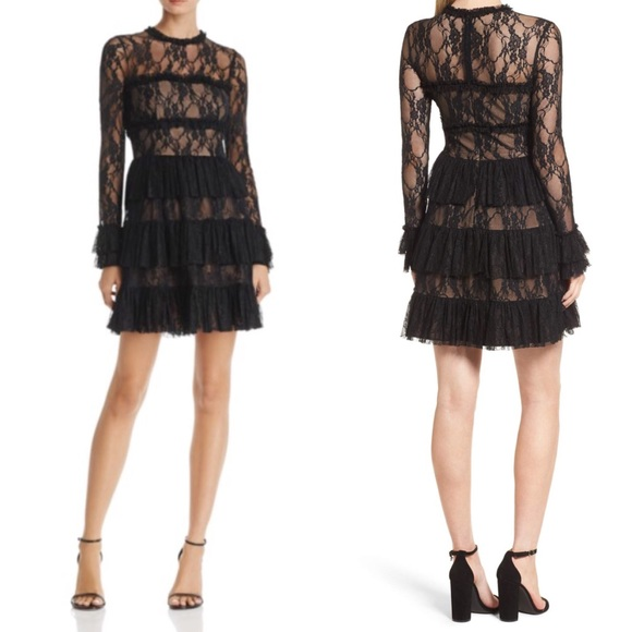 248 Bailey 44 Black Layered Ruffled 2 Lace Dress